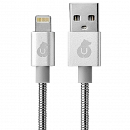 Зарядный кабель uBear MFI Kevlar Metal Cable Lightning - USB 1,2м - Серебристый