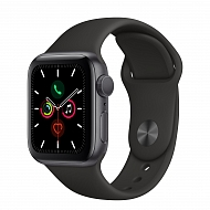 Часы Apple Watch Series 5 GPS Aluminium Case with Black Sport Band 44mm - Серый космос
