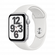 Часы Apple Watch SE GPS, 44mm Silver Aluminium Case with White Sport Band - Regular / MYDQ2GK/A