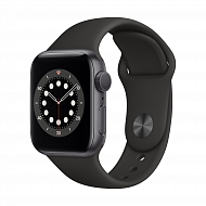 Часы Apple Watch Series 6 GPS, 40mm Space Gray Aluminium Case with Black Sport Band - Regular / MG13